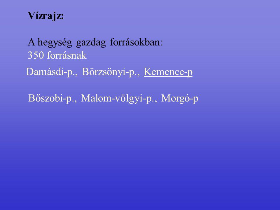 Vízrajz: A hegység gazdag forrásokban: 350 forrásnak Bőszobi-p., Malom-völgyi-p., Morgó-p Damásdi-p., Börzsönyi-p., Kemence-p