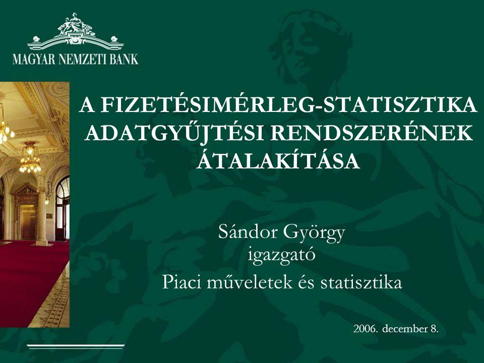 A FIZETÉSIMÉRLEG-STATISZTIKA ADATGYŰJTÉSI RENDSZERÉNEK ÁTALAKÍTÁSA Sándor György igazgató Piaci műveletek és statisztika 2006.