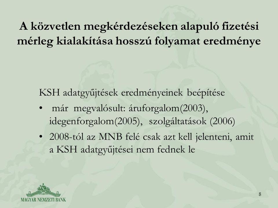 8 A közvetlen megkérdezéseken alapuló fizetési mérleg kialakítása hosszú folyamat eredménye KSH adatgyűjtések eredményeinek beépítése már megvalósult: áruforgalom(2003), idegenforgalom(2005), szolgáltatások (2006) 2008-tól az MNB felé csak azt kell jelenteni, amit a KSH adatgyűjtései nem fednek le