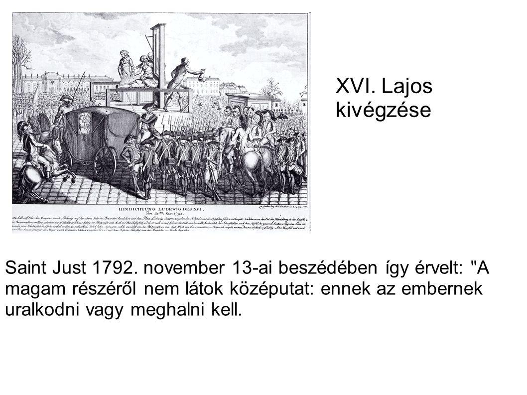 XVI. Lajos kivégzése Saint Just 1792. november 13-ai beszédében így érvelt: