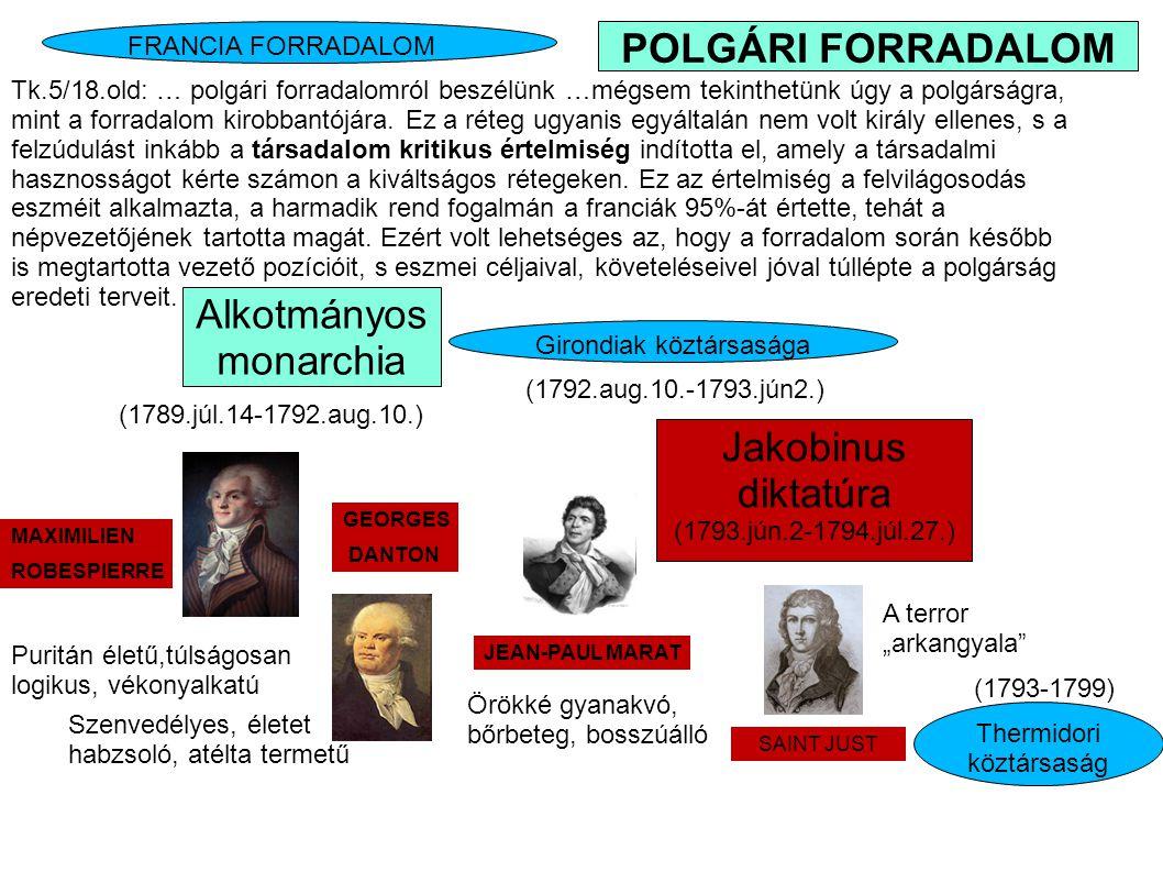 Girondiak köztársasága Jakobinus diktatúra (1793.jún.2-1794.júl.27.) Tk.5/18.old: … polgári forradalomról beszélünk …mégsem tekinthetünk úgy a polgárs