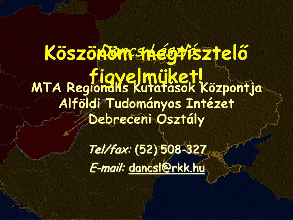 Dancs László MTA Regionális Kutatások Központja Alföldi Tudományos Intézet Debreceni Osztály Tel/fax: (52) 508-327 E-mail: dancsl@rkk.hu Köszönöm megtisztelő figyelmüket!