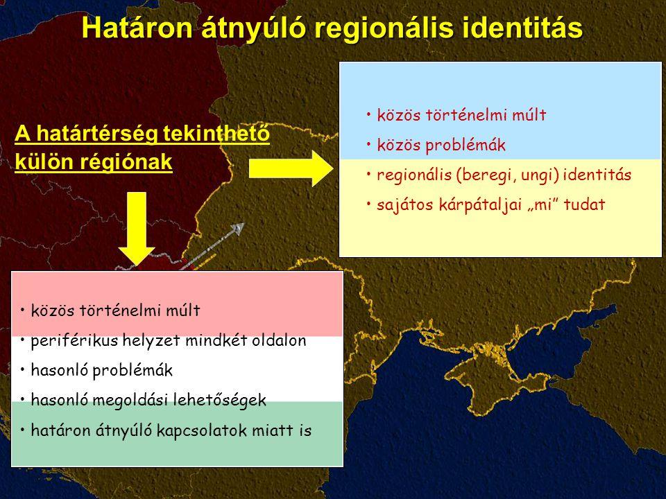 """Határon átnyúló regionális identitás közös történelmi múlt közös problémák regionális (beregi, ungi) identitás sajátos kárpátaljai """"mi tudat közös történelmi múlt periférikus helyzet mindkét oldalon hasonló problémák hasonló megoldási lehetőségek határon átnyúló kapcsolatok miatt is A határtérség tekinthető külön régiónak"""