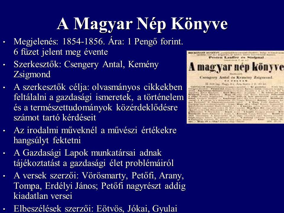 Megjelenés: 1854-1856. Ára: 1 Pengő forint. 6 füzet jelent meg évente Megjelenés: 1854-1856.