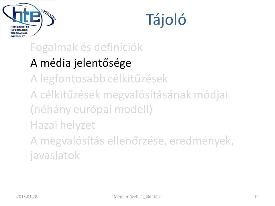 Tájoló Fogalmak és definíciók A média jelentősége A legfontosabb célkitűzések A célkitűzések megvalósításának módjai (néhány európai modell) Hazai helyzet A megvalósítás ellenőrzése, eredmények, javaslatok 2015.01.28.12Médiaműveltség oktatása