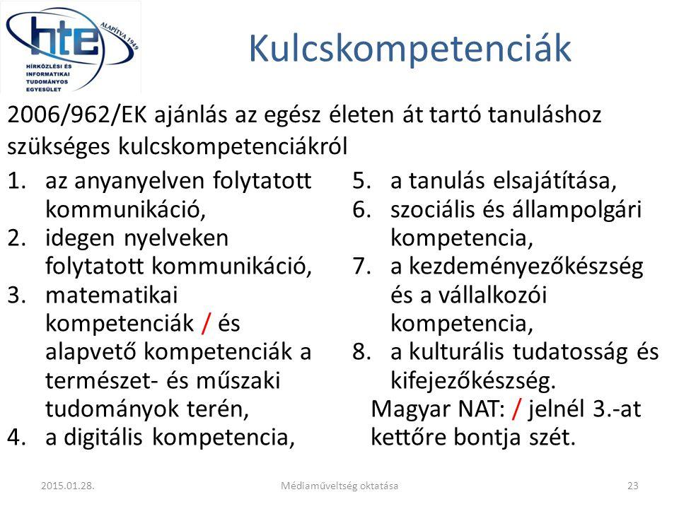 Kulcskompetenciák 1.az anyanyelven folytatott kommunikáció, 2.idegen nyelveken folytatott kommunikáció, 3.matematikai kompetenciák / és alapvető kompetenciák a természet- és műszaki tudományok terén, 4.a digitális kompetencia, 5.a tanulás elsajátítása, 6.szociális és állampolgári kompetencia, 7.a kezdeményezőkészség és a vállalkozói kompetencia, 8.a kulturális tudatosság és kifejezőkészség.