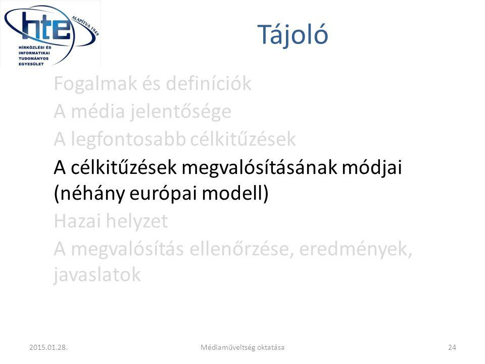 Tájoló Fogalmak és definíciók A média jelentősége A legfontosabb célkitűzések A célkitűzések megvalósításának módjai (néhány európai modell) Hazai helyzet A megvalósítás ellenőrzése, eredmények, javaslatok 2015.01.28.24Médiaműveltség oktatása