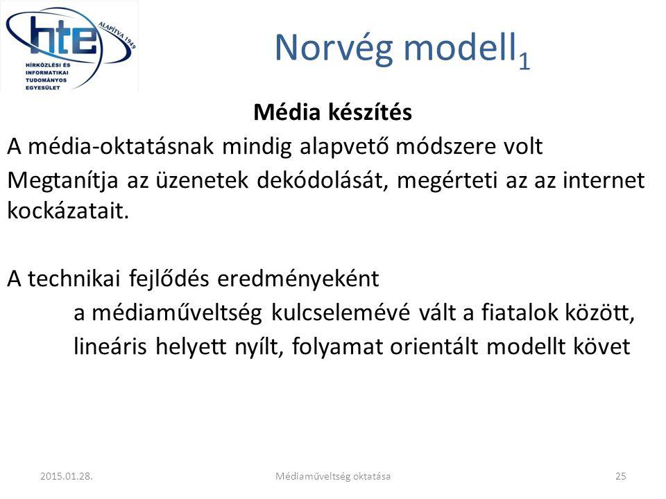 Norvég modell 1 Média készítés A média-oktatásnak mindig alapvető módszere volt Megtanítja az üzenetek dekódolását, megérteti az az internet kockázata