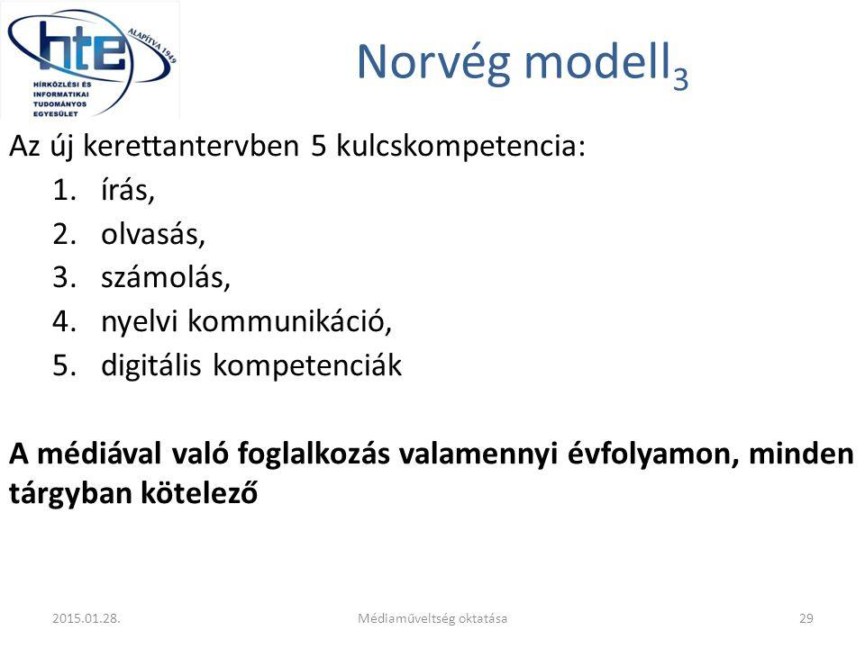 Norvég modell 3 Az új kerettantervben 5 kulcskompetencia: 1.írás, 2.olvasás, 3.számolás, 4.nyelvi kommunikáció, 5.digitális kompetenciák A médiával való foglalkozás valamennyi évfolyamon, minden tárgyban kötelező 2015.01.28.Médiaműveltség oktatása29