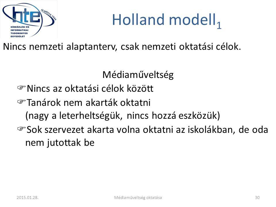 Holland modell 1 Nincs nemzeti alaptanterv, csak nemzeti oktatási célok. Médiaműveltség  Nincs az oktatási célok között  Tanárok nem akarták oktatni