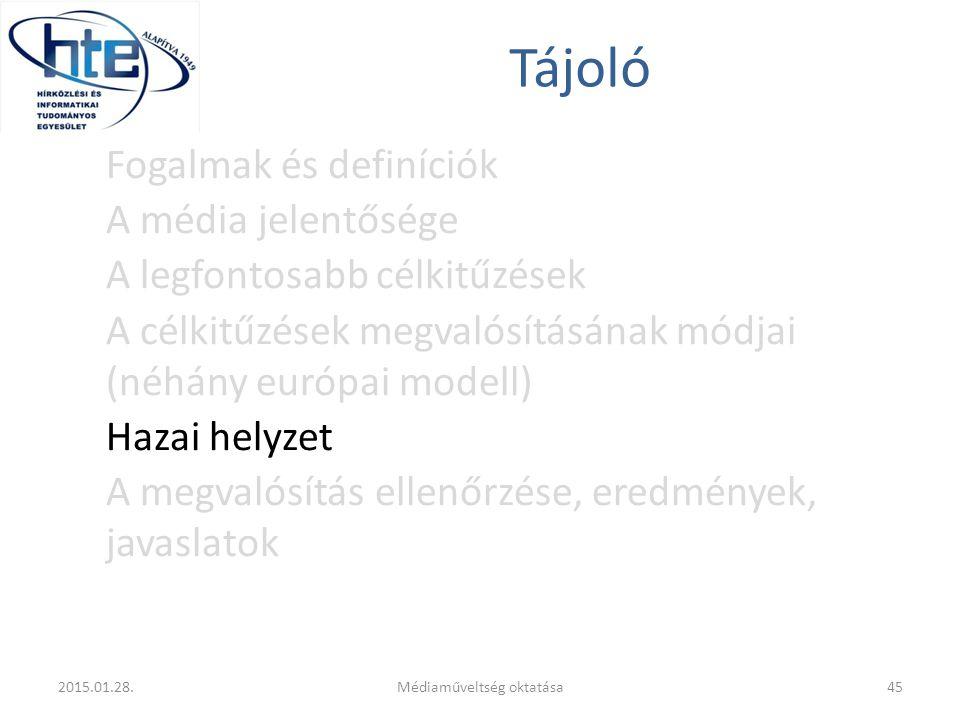 Tájoló Fogalmak és definíciók A média jelentősége A legfontosabb célkitűzések A célkitűzések megvalósításának módjai (néhány európai modell) Hazai helyzet A megvalósítás ellenőrzése, eredmények, javaslatok 2015.01.28.45Médiaműveltség oktatása