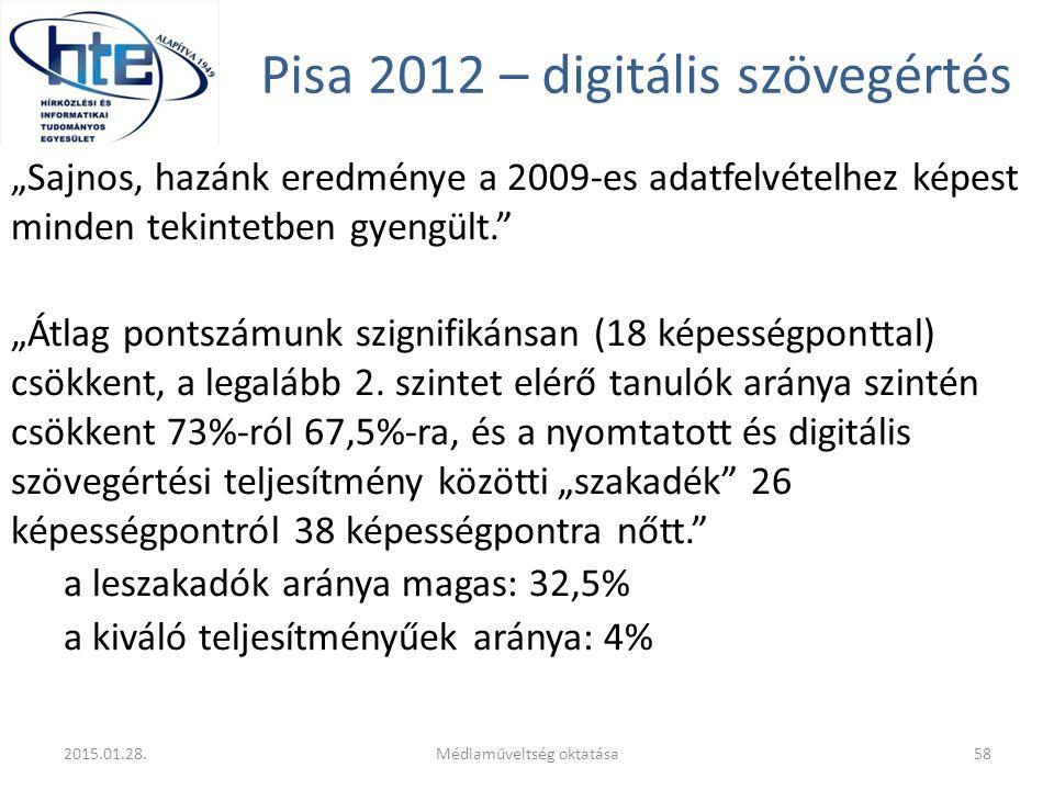 """Pisa 2012 – digitális szövegértés """"Sajnos, hazánk eredménye a 2009-es adatfelvételhez képest minden tekintetben gyengült. """"Átlag pontszámunk szignifikánsan (18 képességponttal) csökkent, a legalább 2."""