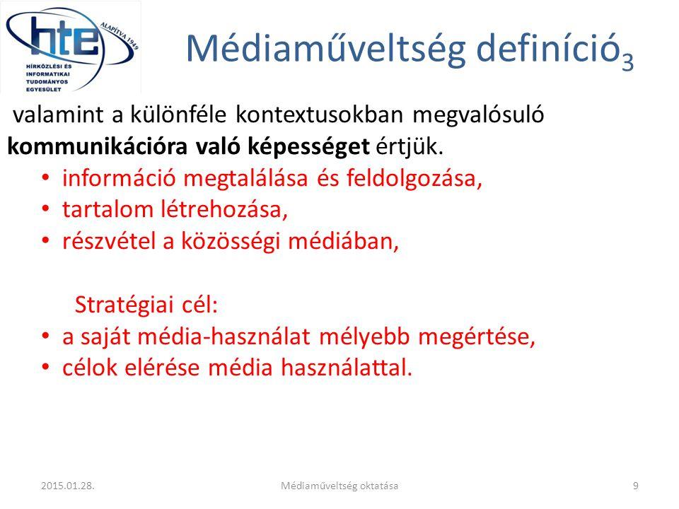 Médiaműveltség definíció 3 valamint a különféle kontextusokban megvalósuló kommunikációra való képességet értjük. információ megtalálása és feldolgozá
