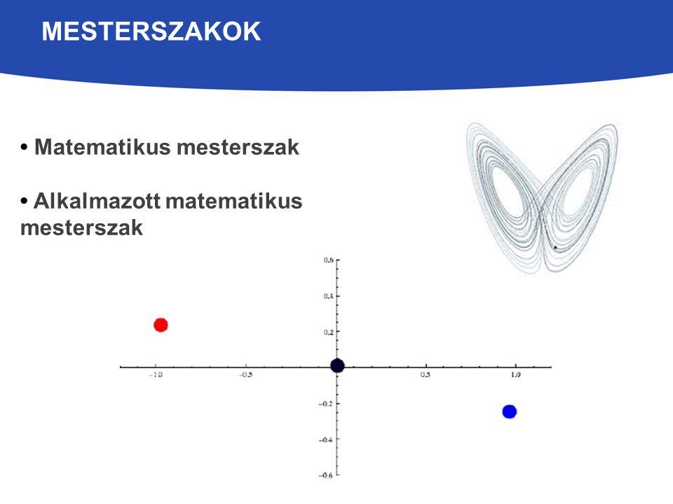MESTERSZAKOK Matematikus mesterszak Alkalmazott matematikus mesterszak