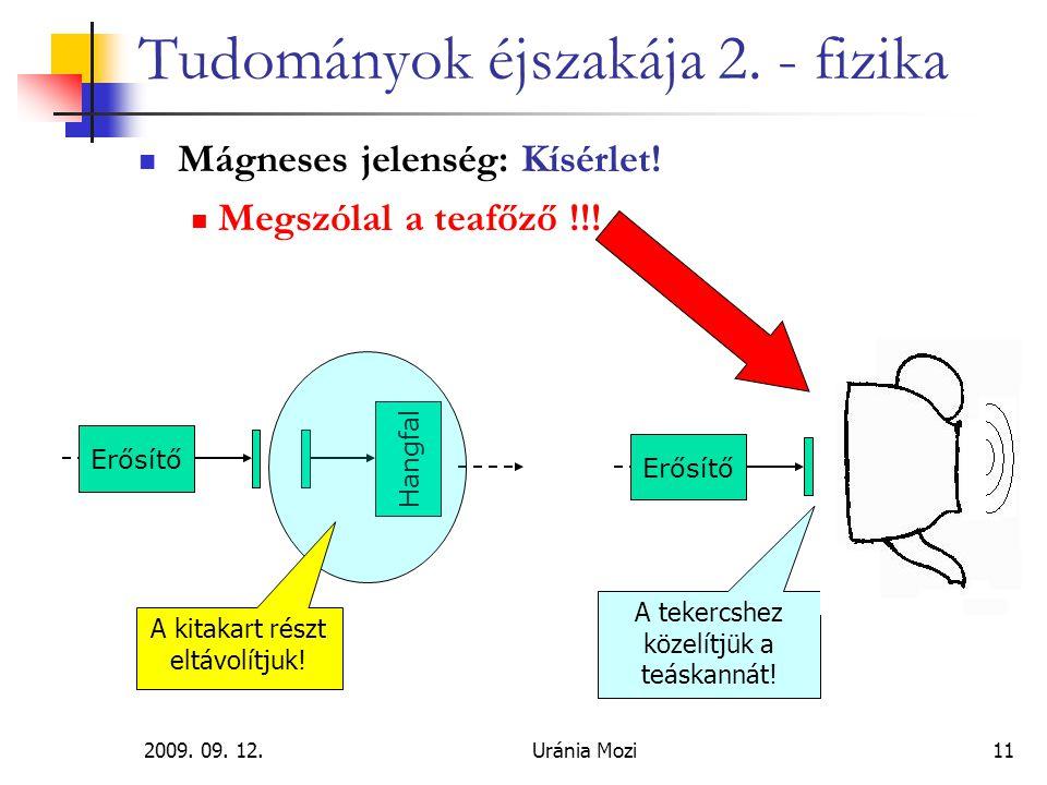 2009. 09. 12.Uránia Mozi11 Tudományok éjszakája 2. - fizika Mágneses jelenség: Kísérlet! Megszólal a teafőző !!! Hangfal Erősítő A kitakart részt eltá