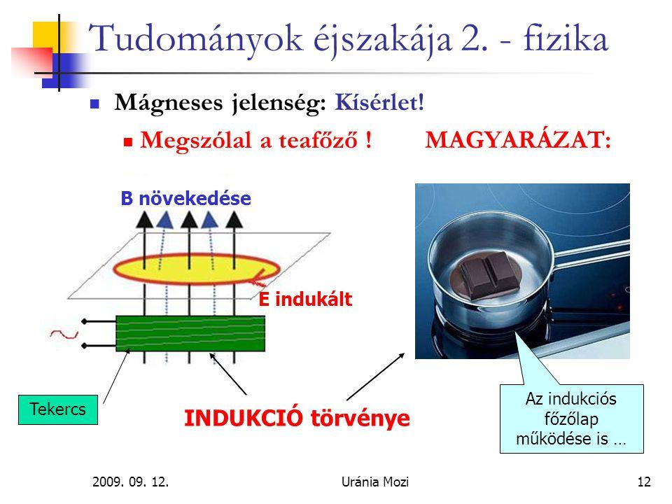 2009. 09. 12.Uránia Mozi12 Tudományok éjszakája 2. - fizika Mágneses jelenség: Kísérlet! Megszólal a teafőző !MAGYARÁZAT: Az indukciós főzőlap működés