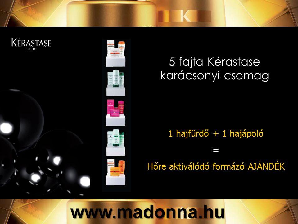5 fajta Kérastase karácsonyi csomag 1 hajfürdő + 1 hajápoló = Hőre aktiválódó formázó AJÁNDÉK www.madonna.hu