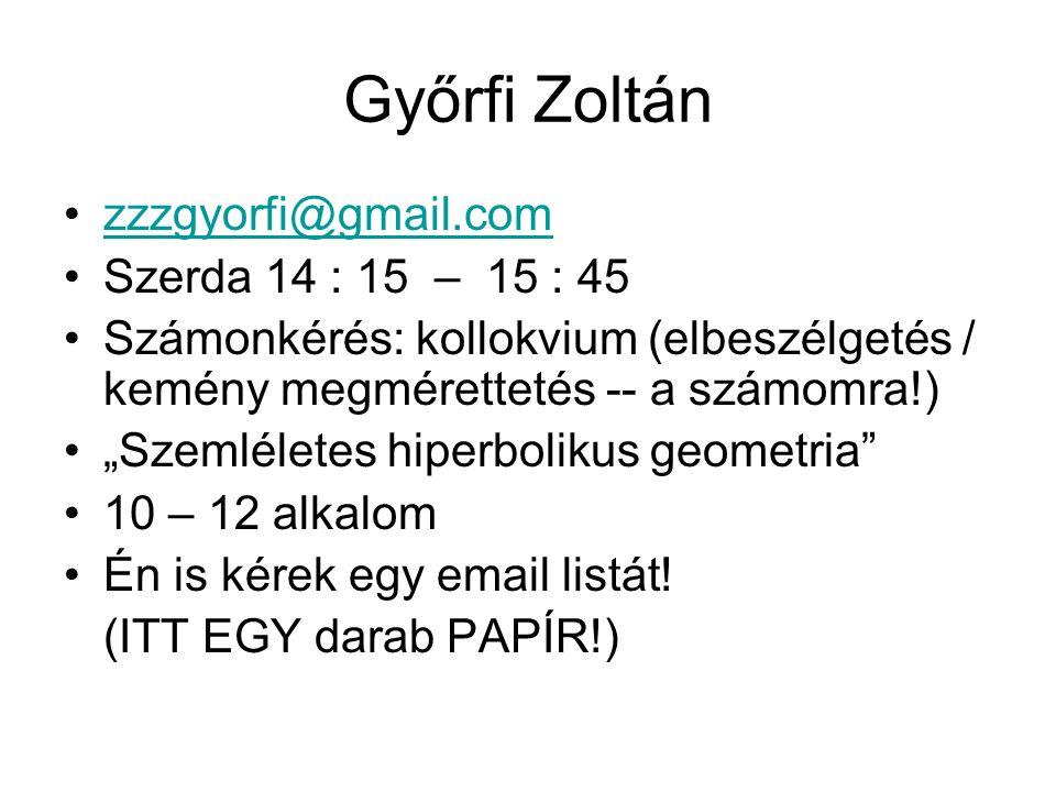 """Győrfi Zoltán zzzgyorfi@gmail.com Szerda 14 : 15 – 15 : 45 Számonkérés: kollokvium (elbeszélgetés / kemény megmérettetés -- a számomra!) """"Szemléletes hiperbolikus geometria 10 – 12 alkalom Én is kérek egy email listát."""