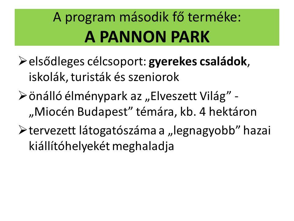 """A program második fő terméke: A PANNON PARK  elsődleges célcsoport: gyerekes családok, iskolák, turisták és szeniorok  önálló élménypark az """"Elveszett Világ - """"Miocén Budapest témára, kb."""