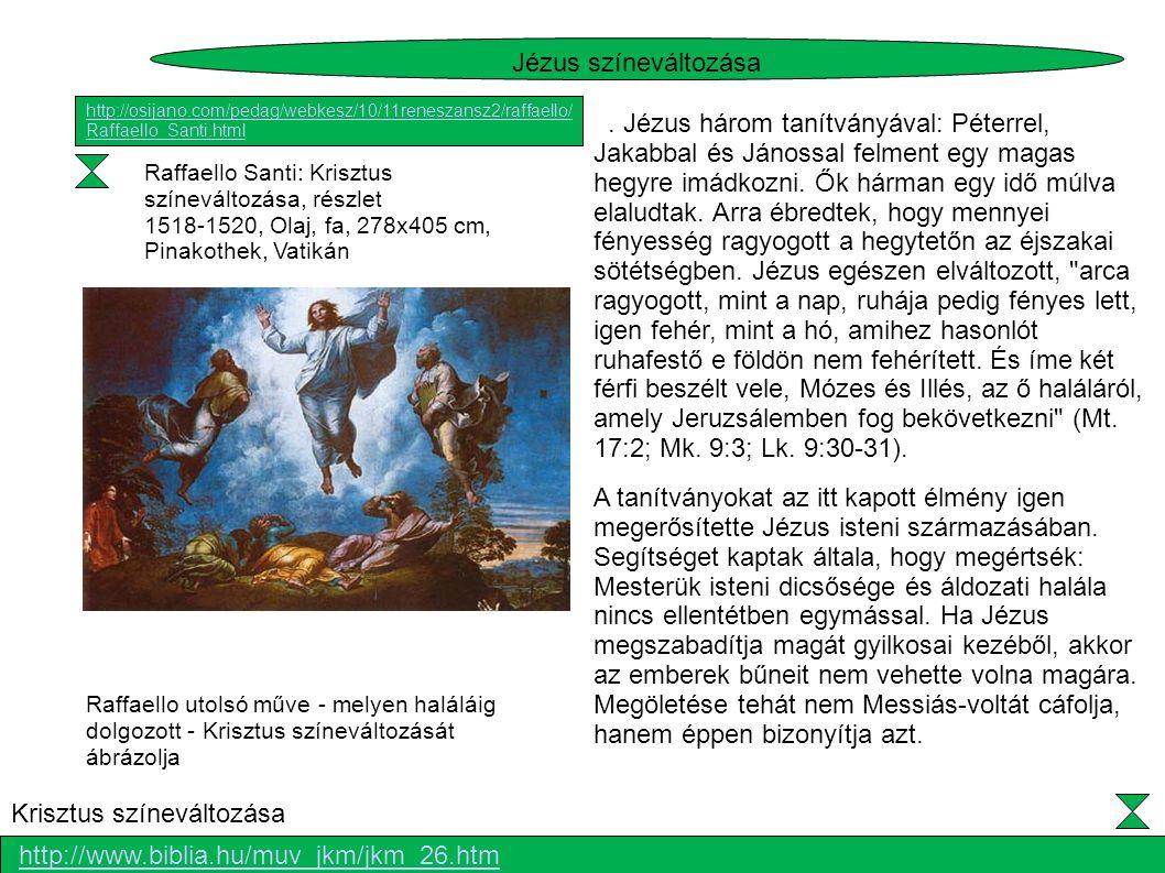Raffaello Santi: Krisztus színeváltozása, részlet 1518-1520, Olaj, fa, 278x405 cm, Pinakothek, Vatikán. Jézus három tanítványával: Péterrel, Jakabbal