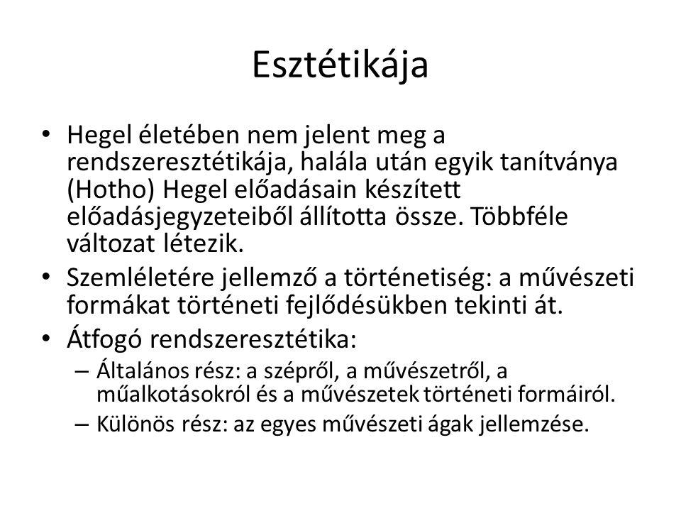 Esztétikája Hegel életében nem jelent meg a rendszeresztétikája, halála után egyik tanítványa (Hotho) Hegel előadásain készített előadásjegyzeteiből á