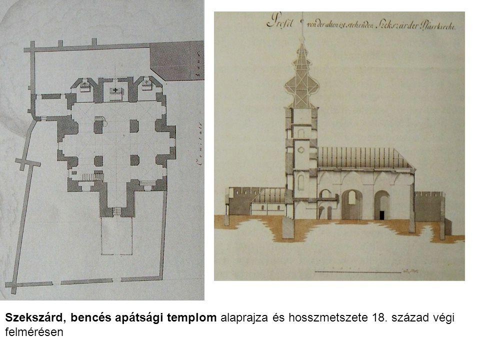 Szekszárd, bencés apátsági templom alaprajza és hosszmetszete 18. század végi felmérésen