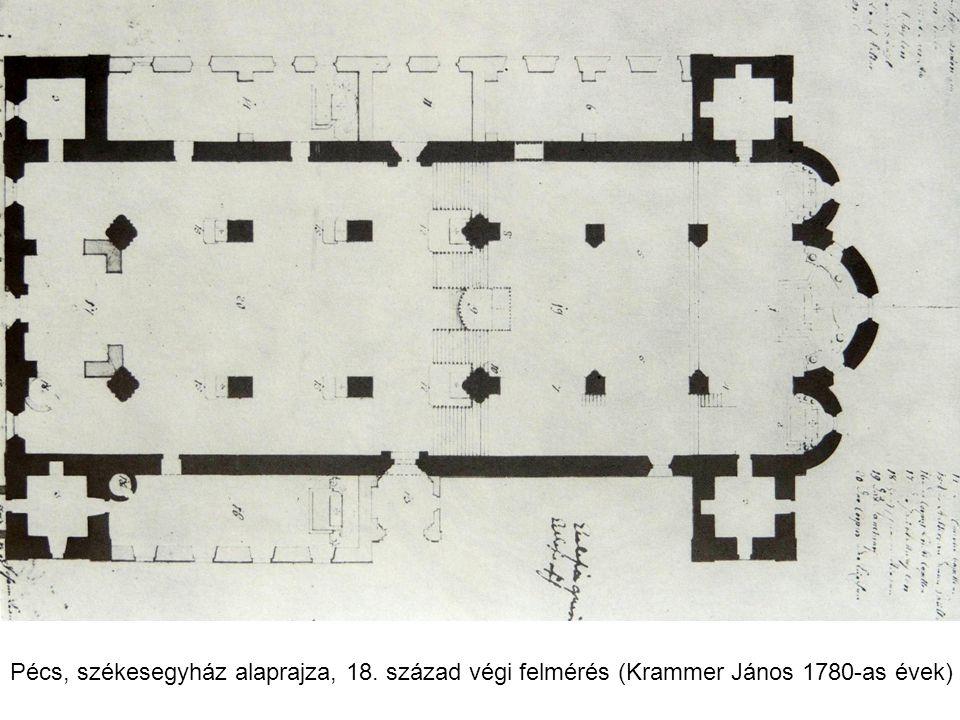 Pécs, székesegyház alaprajza, 18. század végi felmérés (Krammer János 1780-as évek)