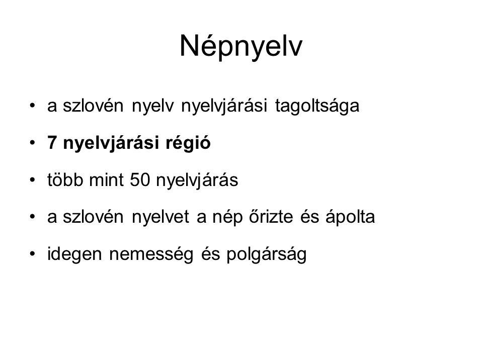 Népnyelv a szlovén nyelv nyelvjárási tagoltsága 7 nyelvjárási régió több mint 50 nyelvjárás a szlovén nyelvet a nép őrizte és ápolta idegen nemesség é