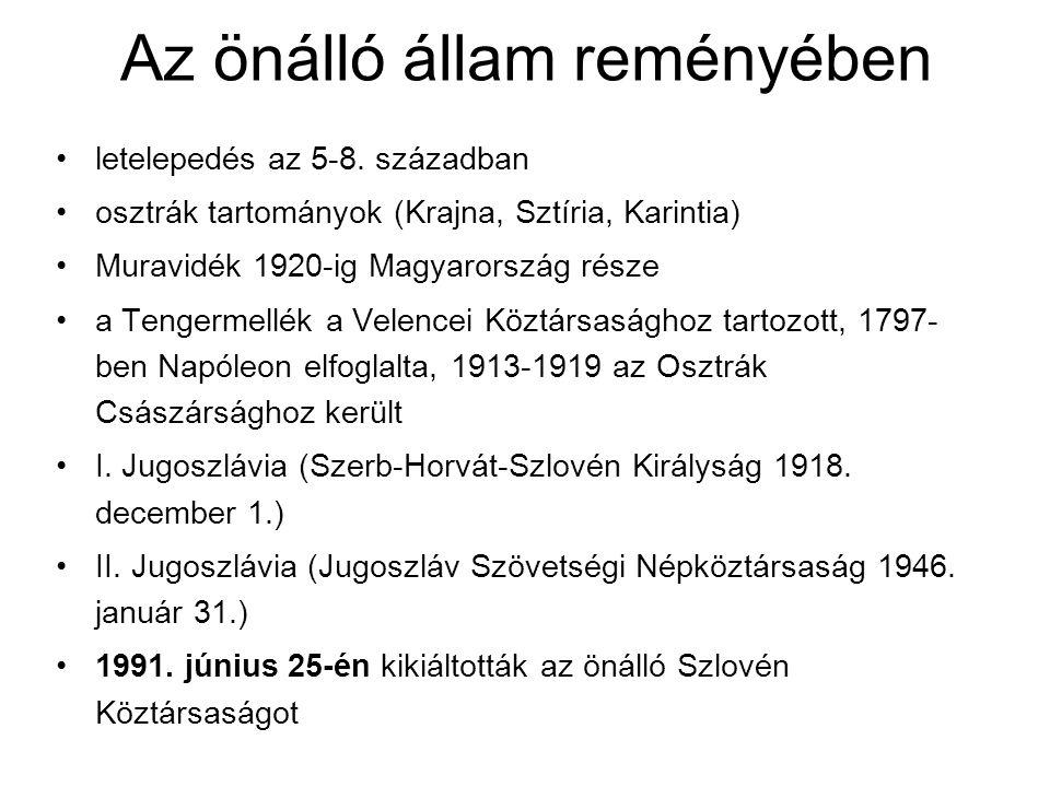 Az önálló állam reményében letelepedés az 5-8. században osztrák tartományok (Krajna, Sztíria, Karintia) Muravidék 1920-ig Magyarország része a Tenger