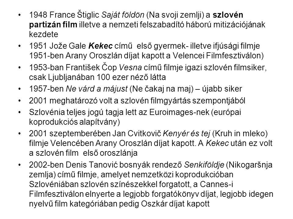 1948 France Štiglic Saját földön (Na svoji zemlji) a szlovén partizán film illetve a nemzeti felszabadító háború mitizációjának kezdete 1951 Jože Gale