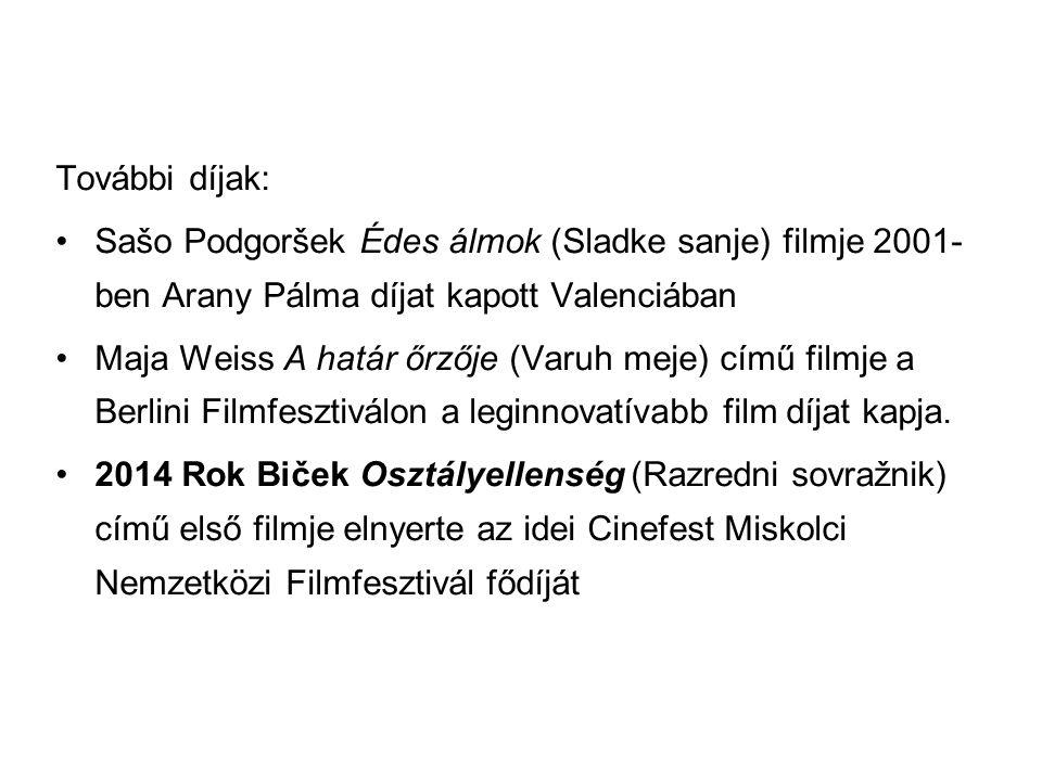 További díjak: Sašo Podgoršek Édes álmok (Sladke sanje) filmje 2001- ben Arany Pálma díjat kapott Valenciában Maja Weiss A határ őrzője (Varuh meje) c