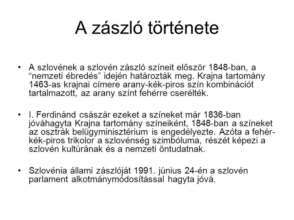 """A zászló története A szlovének a szlovén zászló színeit először 1848-ban, a """"nemzeti ébredés"""" idején határozták meg. Krajna tartomány 1463-as krajnai"""