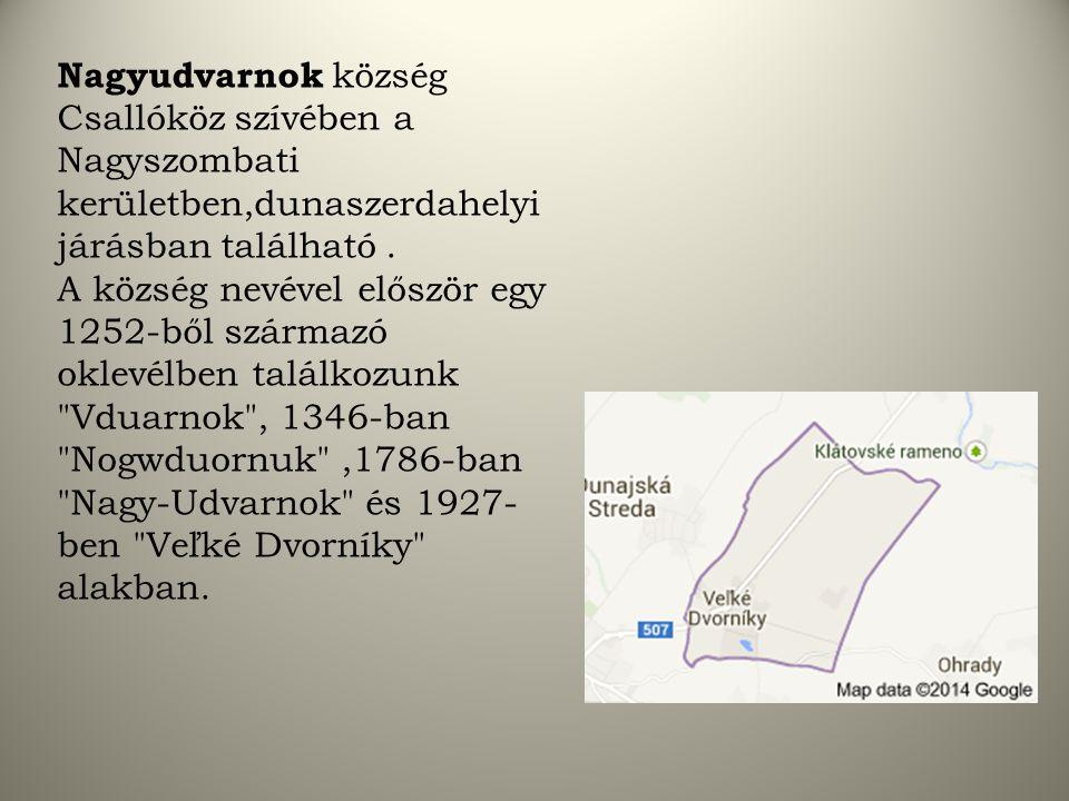Nagyudvarnok község Csallóköz szívében a Nagyszombati kerületben,dunaszerdahelyi járásban található.