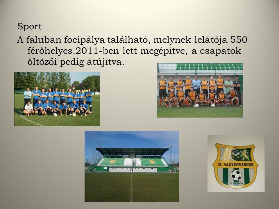 Sport A faluban focipálya található, melynek lelátója 550 férőhelyes.2011-ben lett megépítve, a csapatok öltözői pedig átújítva.