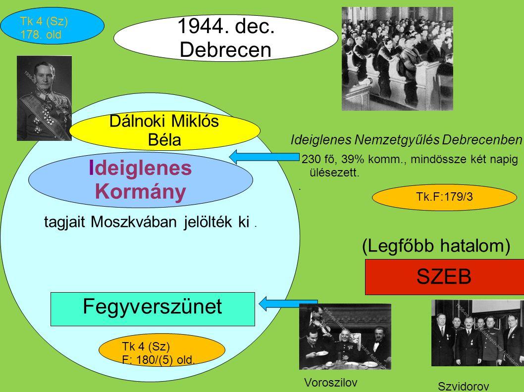 Ideiglenes Nemzetgyűlés Debrecenben 230 fő, 39% komm., mindössze két napig ülésezett.. Ideiglenes Kormány Dálnoki Miklós Béla Tk 4 (Sz) 178. old SZEB