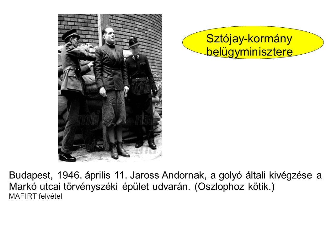 Budapest, 1946. április 11. Jaross Andornak, a golyó általi kivégzése a Markó utcai törvényszéki épület udvarán. (Oszlophoz kötik.) MAFIRT felvétel Sz