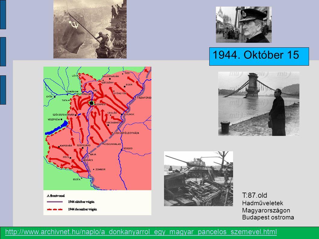 1944.Október 15 Szálasi Ferenc 1945. április Veszteségek SZEB Ember veszteség Kb.