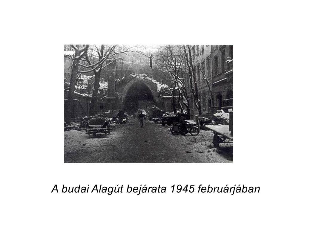 A budai Alagút bejárata 1945 februárjában