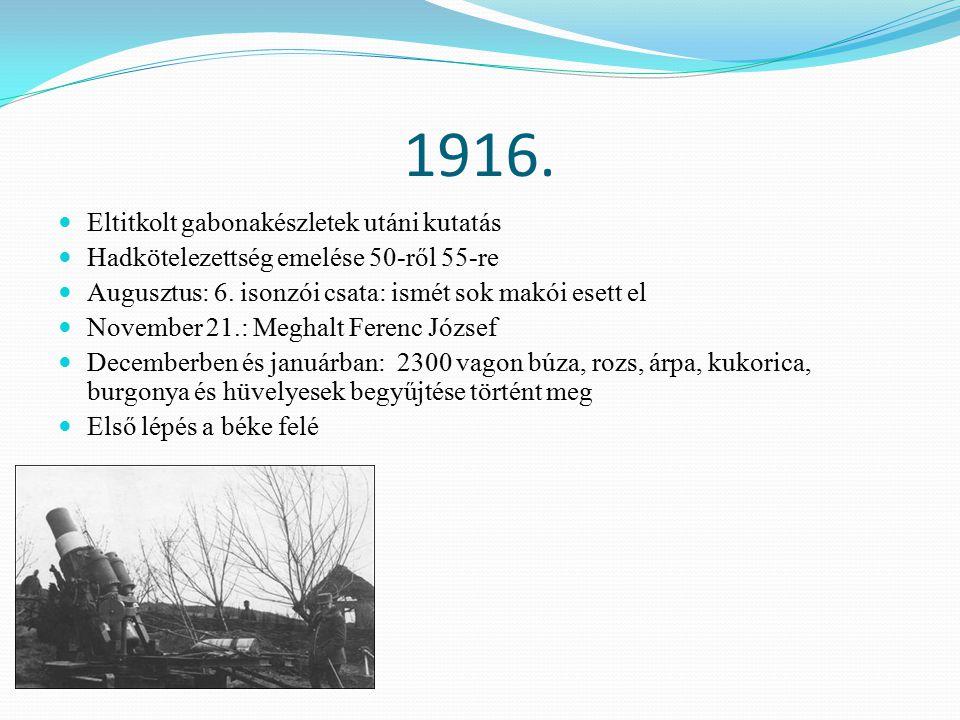 1916. Eltitkolt gabonakészletek utáni kutatás Hadkötelezettség emelése 50-ről 55-re Augusztus: 6.