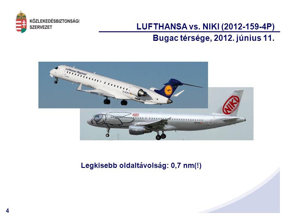 4 LUFTHANSA vs. NIKI (2012-159-4P) Bugac térsége, 2012. június 11. Legkisebb oldaltávolság: 0,7 nm(!)