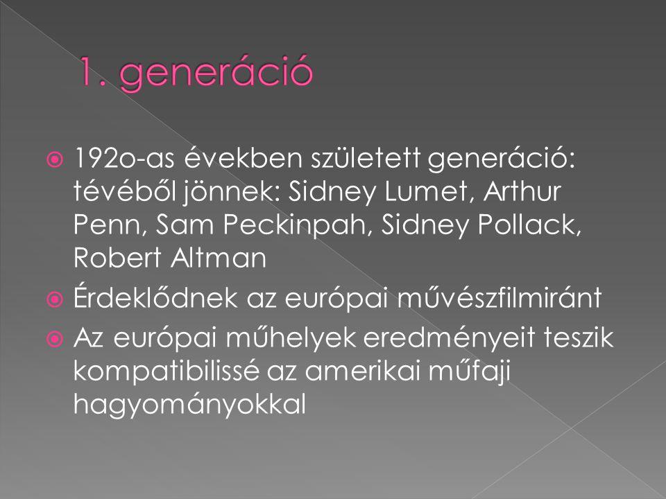  192o-as években született generáció: tévéből jönnek: Sidney Lumet, Arthur Penn, Sam Peckinpah, Sidney Pollack, Robert Altman  Érdeklődnek az európa