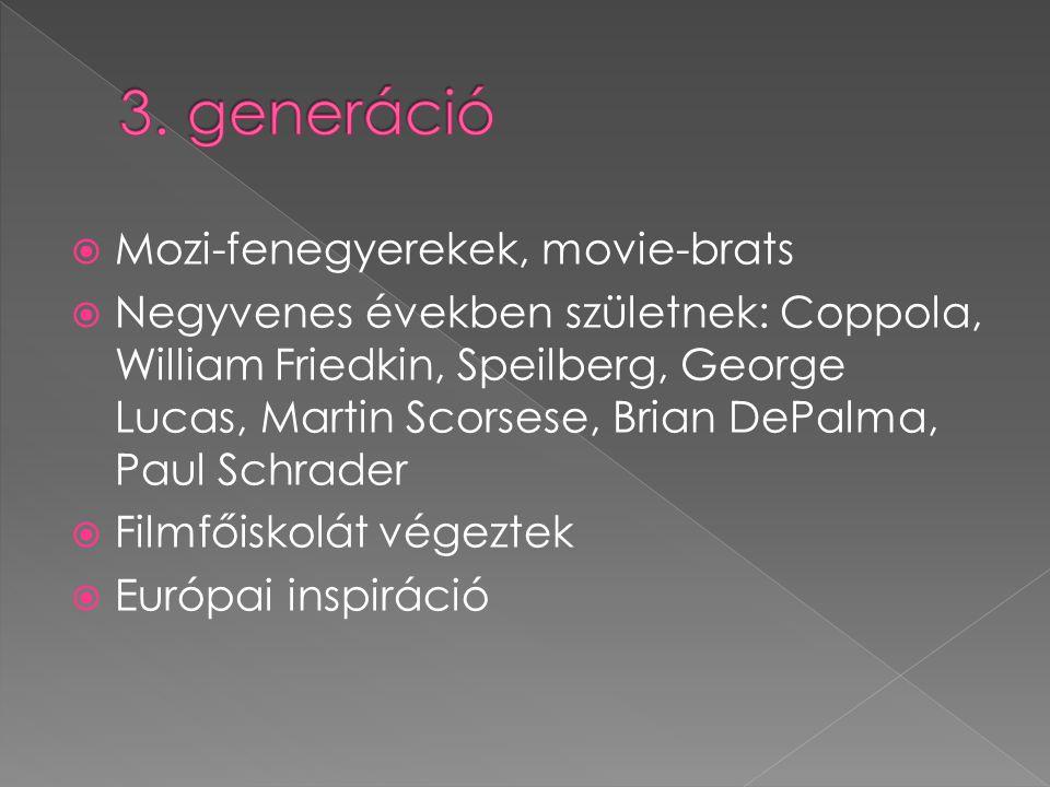  Mozi-fenegyerekek, movie-brats  Negyvenes években születnek: Coppola, William Friedkin, Speilberg, George Lucas, Martin Scorsese, Brian DePalma, Pa