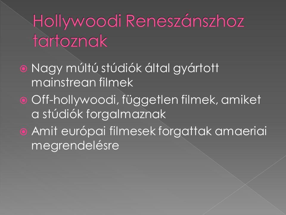  Nagy múltú stúdiók által gyártott mainstrean filmek  Off-hollywoodi, független filmek, amiket a stúdiók forgalmaznak  Amit európai filmesek forgat