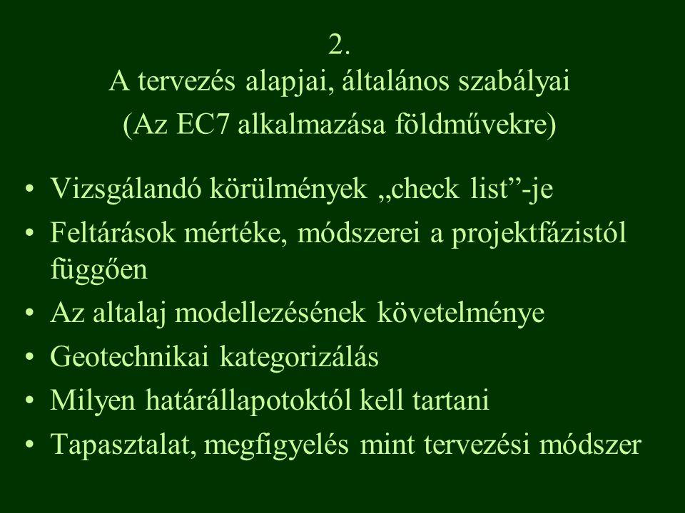 """2. A tervezés alapjai, általános szabályai (Az EC7 alkalmazása földművekre) Vizsgálandó körülmények """"check list""""-je Feltárások mértéke, módszerei a pr"""