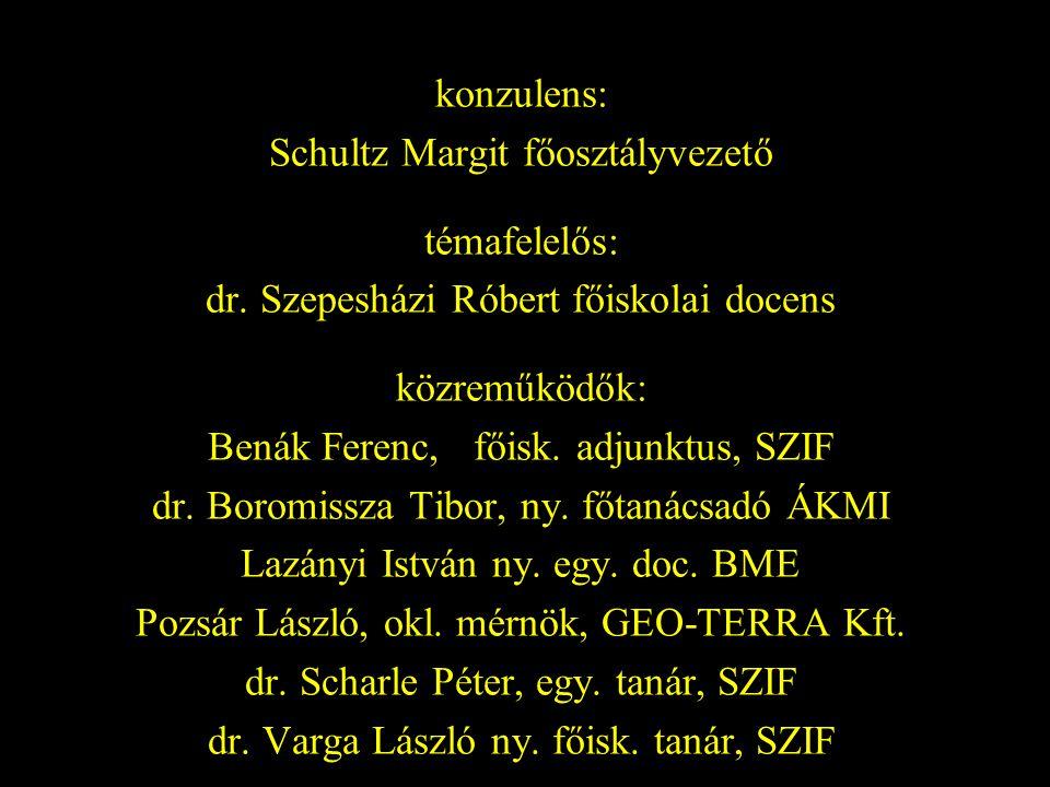 konzulens: Schultz Margit főosztályvezető témafelelős: dr. Szepesházi Róbert főiskolai docens közreműködők: Benák Ferenc, főisk. adjunktus, SZIF dr. B