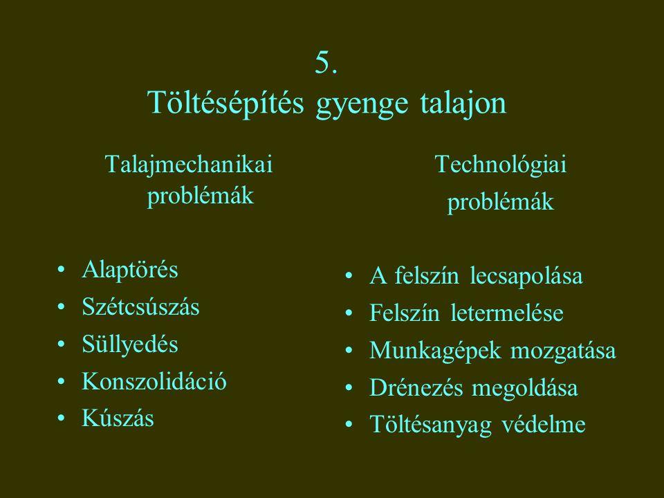 5. Töltésépítés gyenge talajon Talajmechanikai problémák Alaptörés Szétcsúszás Süllyedés Konszolidáció Kúszás Technológiai problémák A felszín lecsapo