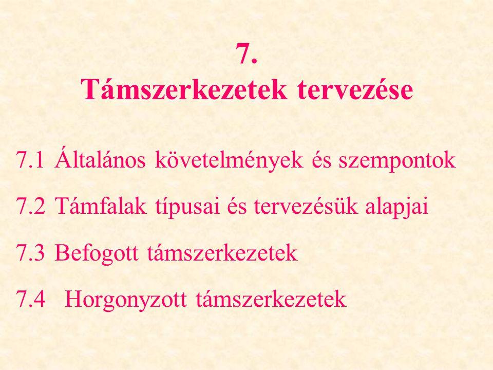 7. Támszerkezetek tervezése 7.1Általános követelmények és szempontok 7.2Támfalak típusai és tervezésük alapjai 7.3Befogott támszerkezetek 7.4 Horgonyz