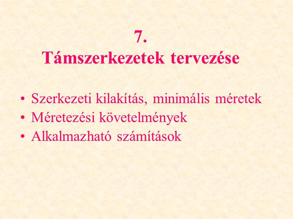 7. Támszerkezetek tervezése Szerkezeti kilakítás, minimális méretek Méretezési követelmények Alkalmazható számítások