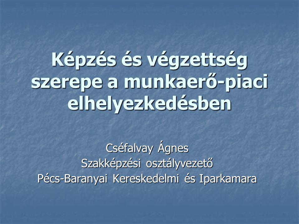 Képzés és végzettség szerepe a munkaerő-piaci elhelyezkedésben Képzés és végzettség szerepe a munkaerő-piaci elhelyezkedésben Cséfalvay Ágnes Szakképzési osztályvezető Pécs-Baranyai Kereskedelmi és Iparkamara