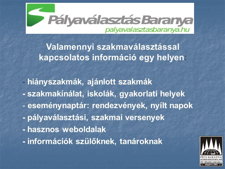 Valamennyi szakmaválasztással kapcsolatos információ egy helyen: - hiányszakmák, ajánlott szakmák - szakmakínálat, iskolák, gyakorlati helyek - esemén